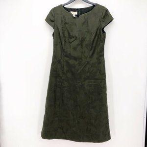 Talbots Womens Shift Dress Olive Green Midi Size 8
